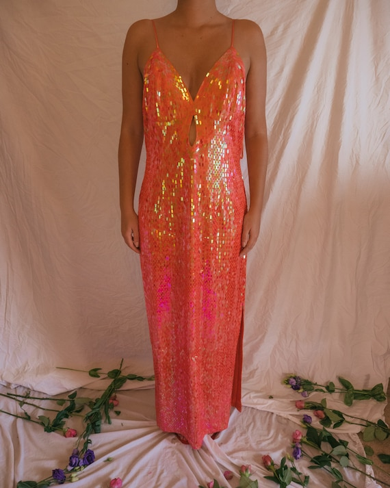 Vintage Frank Usher Coral Sequin Maxi Dress - The
