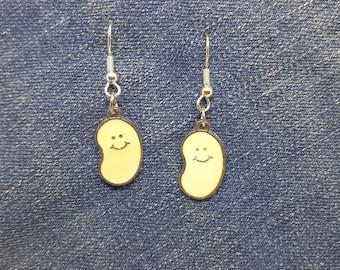 White Jelly Bean Charm Enamel Coated Metal Earrings  Jewelry 3/4 inch