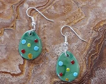 Fused Glass Green Easter Egg Dangle Earrings 3/4 inch  ... XPSTAMZ