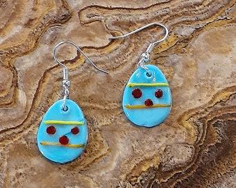Fused Glass Blue Easter Egg Dangle Earrings 3/4 inch  -- XPSTAMZ