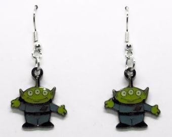 Toy Story Alien Toy Earrings Jewelry Dangle Metal Enamel 1/2 inch
