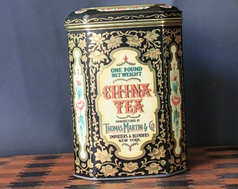 Vintage Daher China Tea Tin. Thomas Martin And Company Collectible Tin With Hinged Lid. Great To Hold Your Loose Tea In! Gift For Tea Lover.