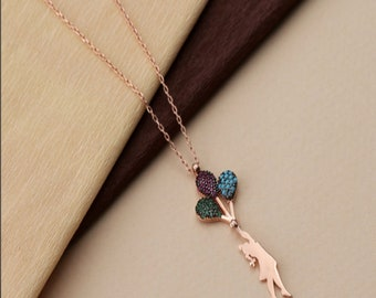 24Kt Gold Plated Brass Girl with Balloons Brass Micro Pave Zirconia Pendant