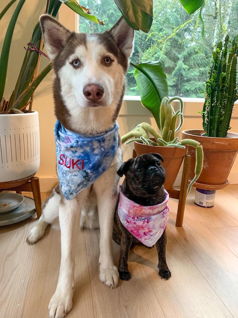 Personalize Tie Dye Pet Bandanas Custom Embroidery