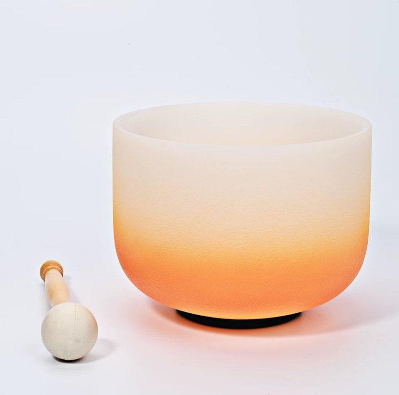 8\u2019 10\u2019 inch Solar Plexus E BALI\u2019S SUNSET Orange Crystal Quartz Singing Bowl Chakra Sacral D