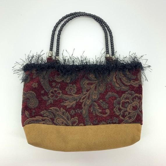 Vintage burgundy paisley handmade bag