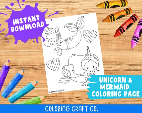 Unicorn Mermaid Coloring Page Printable Coloring Pages