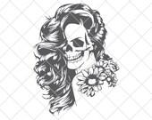 Woman Sugar Skull Digital File, Woman Svg, Sugar Skull Svg, Calavera Svg, Dia de los Muertos Svg, Day of the Dead Svg