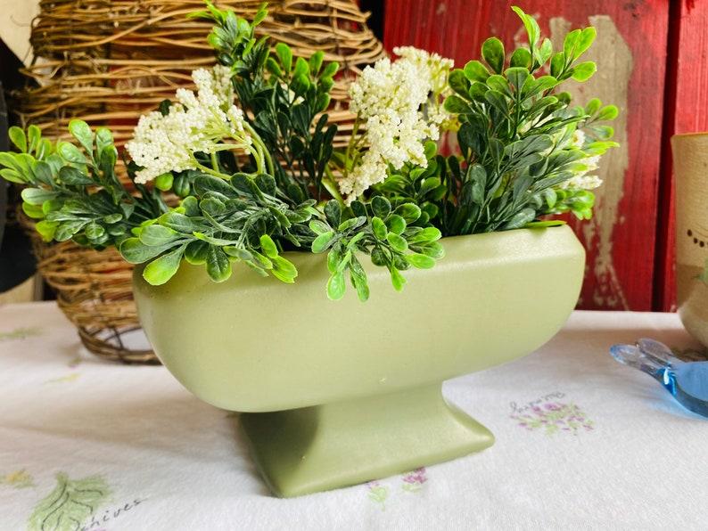 McCoy Floraline Rectangle Pedestal Planter  Footed Planter  Matte Green Planter  USA Planter  Home Decor