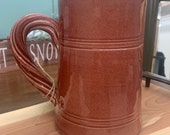 Vintage Rowe Pottery Works mauve pink pitcher crock rope handle