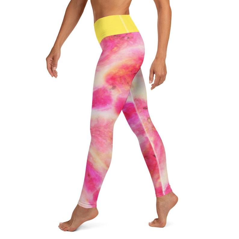 Good Vibes Pink Tie Dye Yoga LeggingsMotivationalPositiveWomens Fashion LeggingsWorkout LeggingsMommy and me