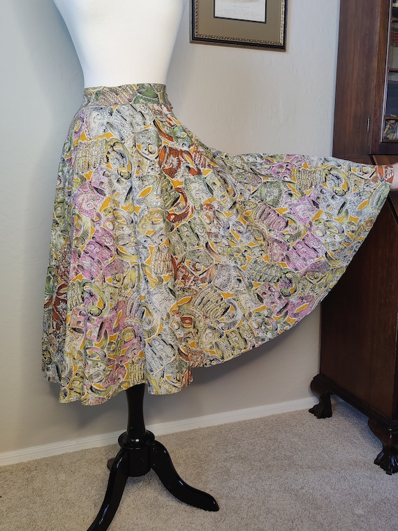 1950's Rhinestone Novelty Print Circle Skirt