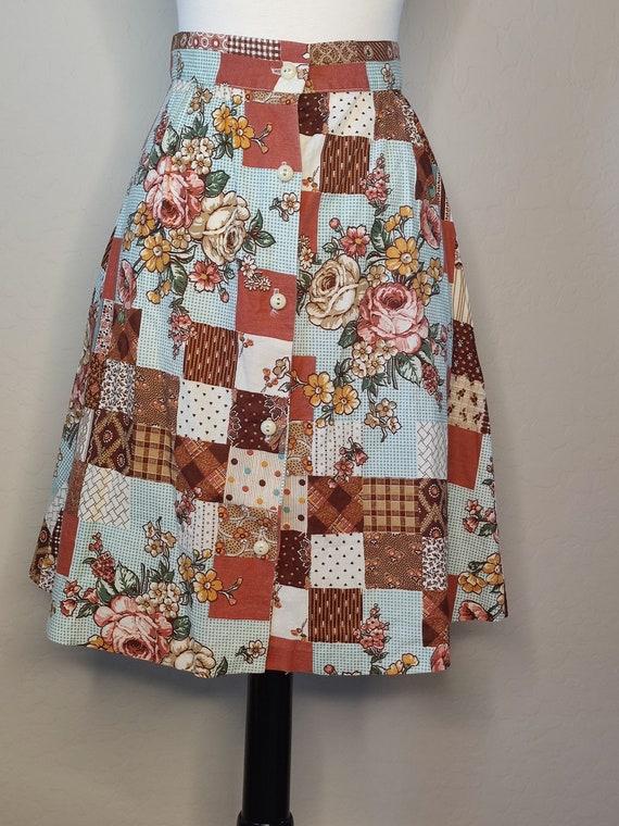1970s Patchwork Print Skirt