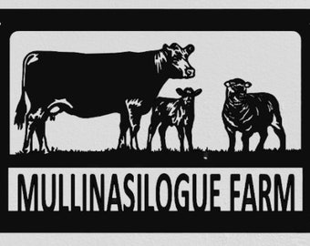 Aberdeen Angus Cow Calf Sheep Farm Name Address Sign Laser Cut