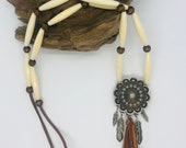 Native American jewelry, women s jewelry, ethnic necklace, unisex, feather pendant, tassel pendant , beads and bone,