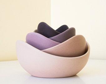 Ceramic Lotus Bowls (Full Set)