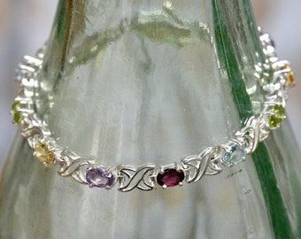 Vintage Xo X O Style Multi-colored Crystals Tennis Bracelet 925 Silver Br 927
