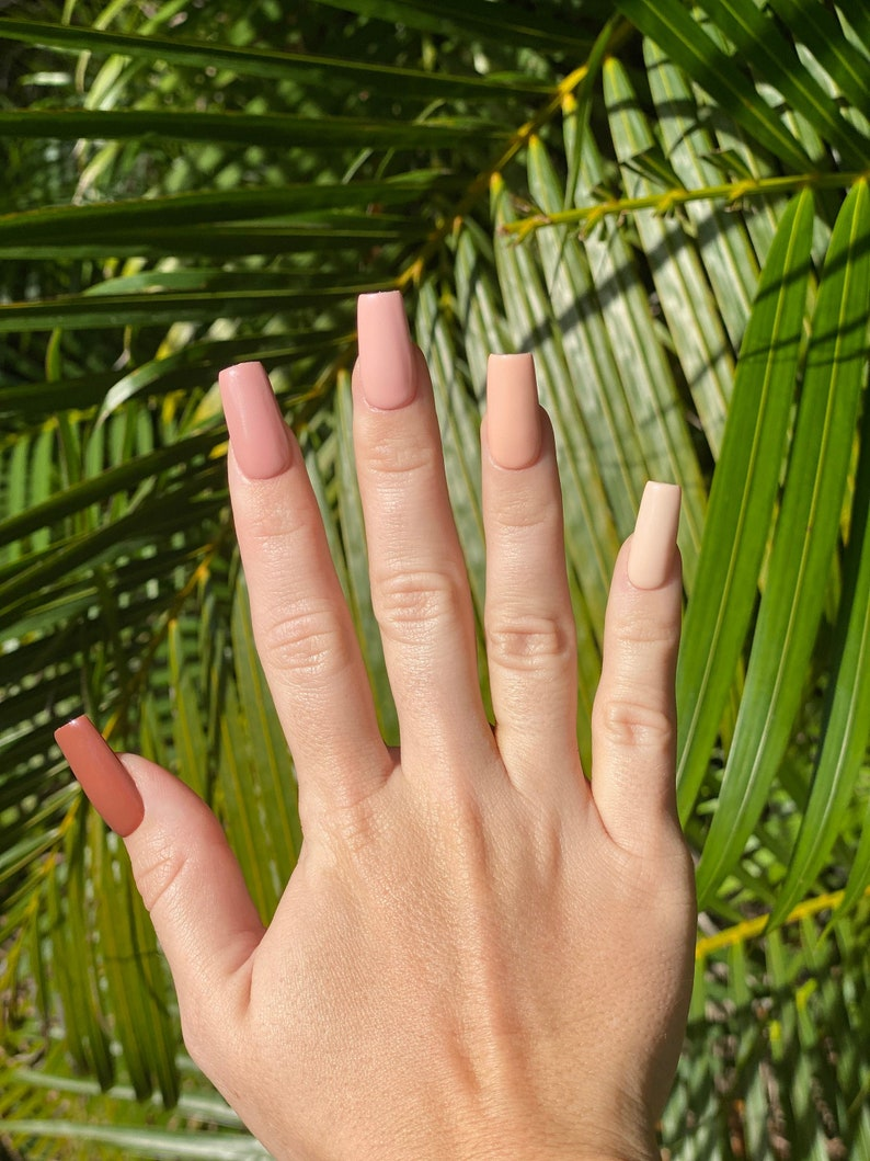 Nude Ombre Nails Nude Nails Neutral Nails Fake Nails image 0