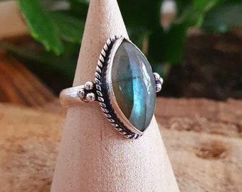 Mandala Flower Spiral Brass Ring  Turquoise  Tiger Eye  Sun Stone  Boho   Ethnic  Rustic  Tribal  Gypsy  Festival  Healing