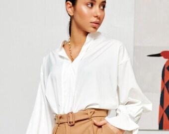 womens white Blouse M womens blouse office blouse classic blouse minimalist blouse retro blouse long sleeve shirt everyday Steampunk blouse