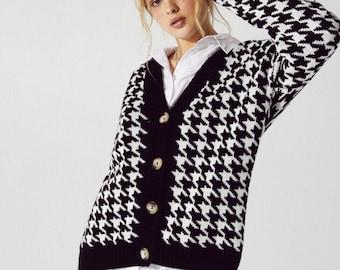 women\u2019s vintage houndstooth cardigan