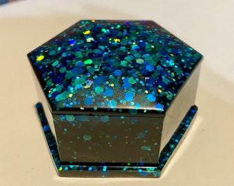Black blue glitter hexagon geometric storage jewelry box