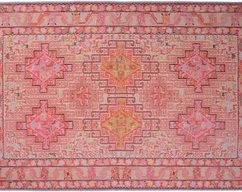 Turkish Rug Pink, Rugs 6x9, Oriental Oushak Rug, Vintage Style Cotton Handmade Area Rug, Area Rug 6x9, Large Turkish Rug, Boho Rug Oushak