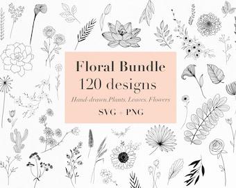 Floral Bundle Svg  120 Hand-drawn floral svg designs   flowers svg   plants svg   leaves svg   Floral svg   digital download   flowercutfile