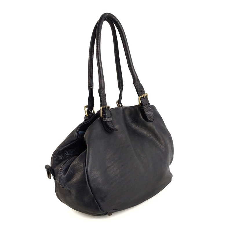 Black Soft Italian Leather Shoulder Bag Small leather shoulder bag italian leather shoulder pouch ready to ship pouch bag in black