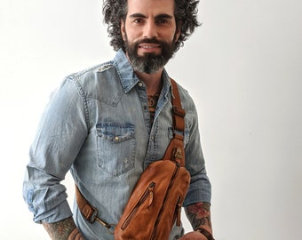 Men's Soft Distressed Italian Leather Sling Bag, Men's Sling Bag, Men's crossbody bag, Man Bag, leather fanny pack, Ready to ship today,