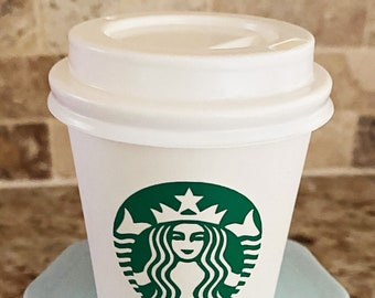 Mini Starbucks inspired coffee cup for tier tray, coffee bar, decor or prop