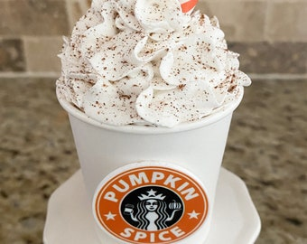 Faux Starbucks inspired mini Frappuccino for tier tray, coffee bar, kitchen decor or food prop