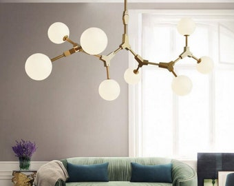 Industrial Bubble Milky Globe Branch Chandelier Pendant Lamp Light Fixture, For Living Room Office Dining Kitchen Island, Interior Design