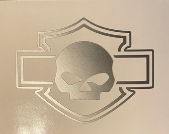 Harley Skull Blank Decal - NEW -Version 2 - For Helmets, Tanks, Cars, windows   Willie G, Harley Davidson