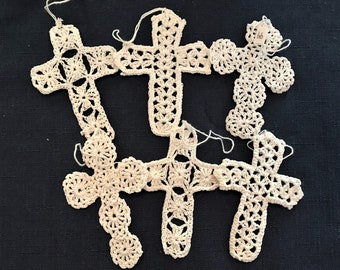 Use them for Baptism cards spring and Easter cards and crafts. Set of 6 crosses in lovely vintage colors Crochet cross appliques