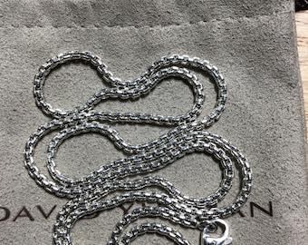 Sterling silver 925 rhodium David Yurman chain necklace 24
