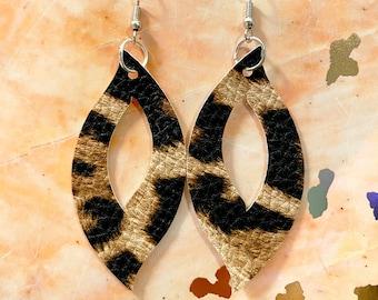Faux leather handmade leopard print teardrop earrings