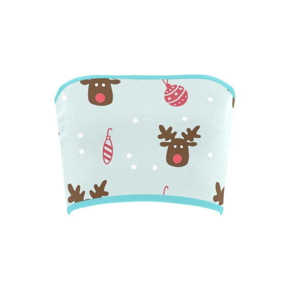 Discontinued!! .. Discontinued!! .. Christmas Reindeer and Tree Ornaments Women's Bandeau Top , Blue