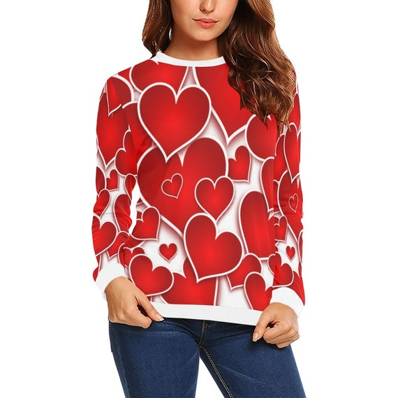Discontinued!! .. Discontinued!! .. Red Hearts Women's Long Sleeve Shirt , White