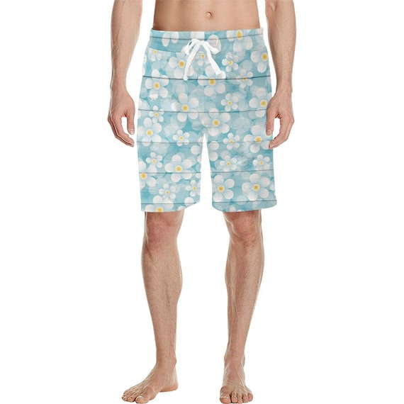 Spring Daisies Painted On Blue Wooden Planks Men's  Casual Shorts
