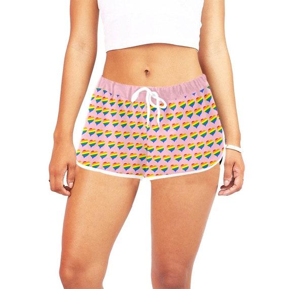 Pink Rainbow Hearts Women's Casual Shorts