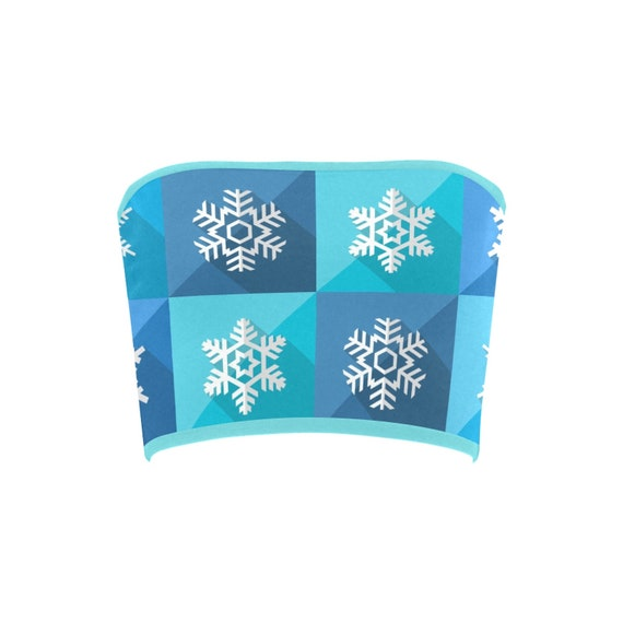 Discontinued!! .. Discontinued!! .. Christmas Snowflakes Women's Bandeau Top , Blue