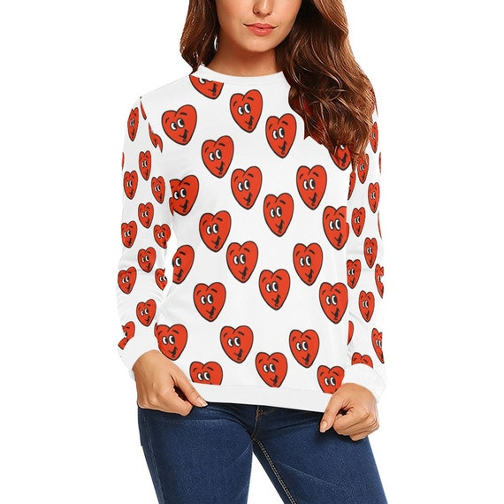 Discontinued!! .. Discontinued!! .. Happy Hearts Women's Long Sleeve Shirt , White