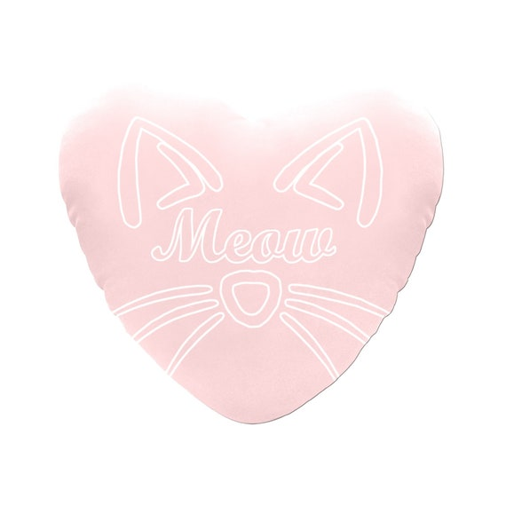 Discontinued!! .. Pink with Pink / White Text Meow Cat Face Decorative Heart Shaped Throw Pillow