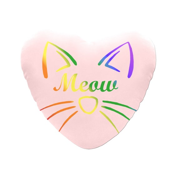 Pink with Rainbow Text Meow Cat Face Decorative Heart Shaped Throw Pillow