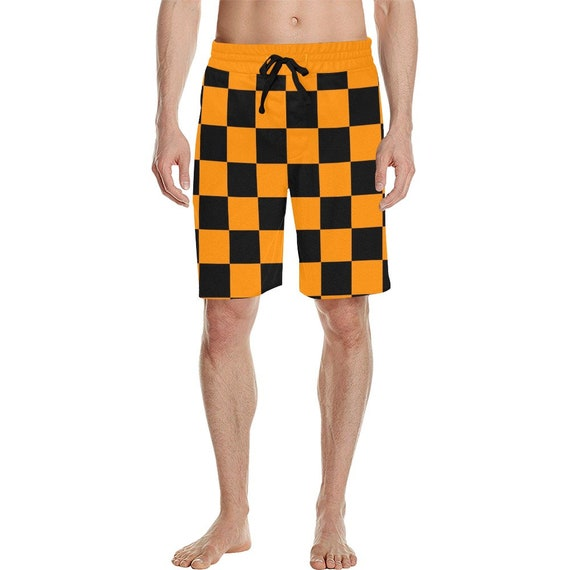 Orange and Black Checker Men's  Casual Shorts