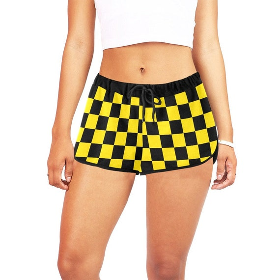 Black and Yellow Checker  Women's  Casual Shorts