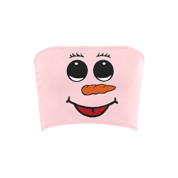 Discontinued!! .. Discontinued!! .. Cute Snowman Women's Bandeau Top , Pink