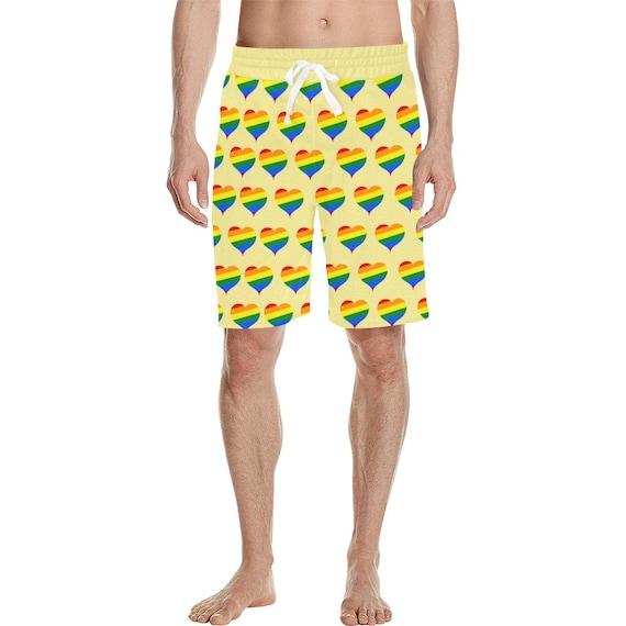 Yellow Rainbow Hearts Men's  Casual Shorts