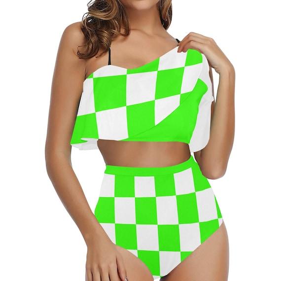 Green and White Checker High Waisted Flounce Bikini Set